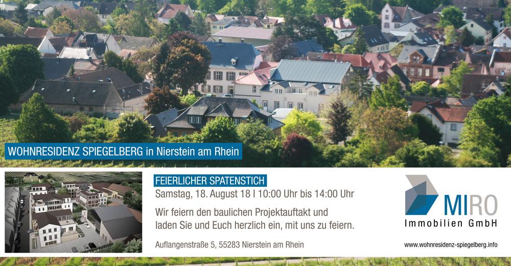Einladung zum Spatenstich am 18.8.18 ab 10:00 Uhr in der Auflangenstraße 5, 55283 Nierstein am Rhein